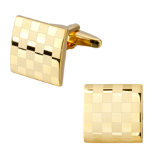 The high-end men's shirts Cufflinks Wedding copper laser metal fashion menswear brand Cufflinks gold square lattice