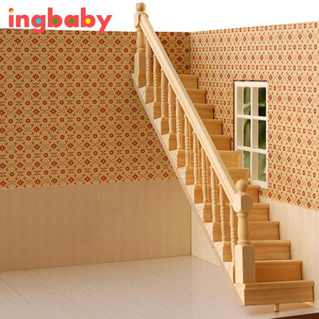 1: 12 Dollhouse Mini Wood Model Stairs Childrenu0027s Puzzle DIY Decorations  Villa Huts Dedicated Left