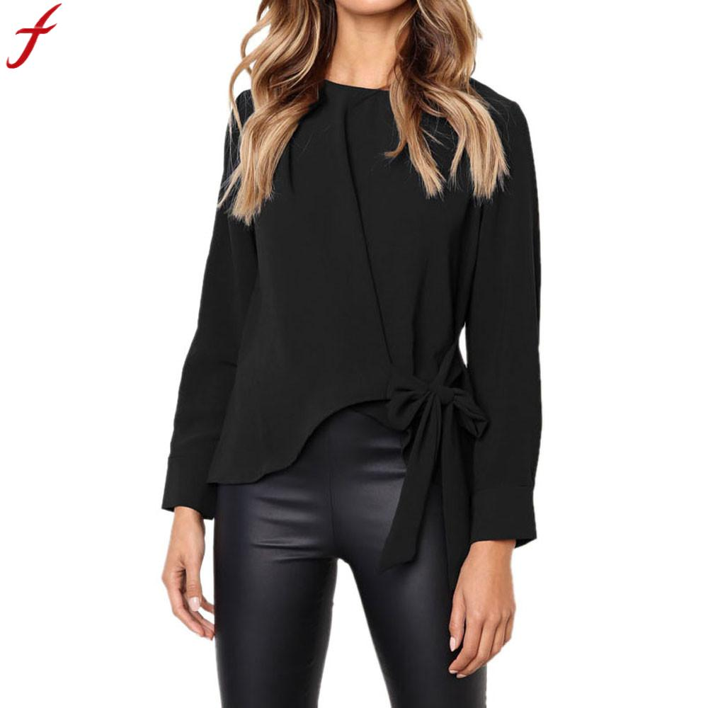 Round Neck Women Blouse 2018 Spring Autumn Office Lady Long Sleeve Solid Color Blouse And Tops Casual Tie Bow Loose Tops Blouse