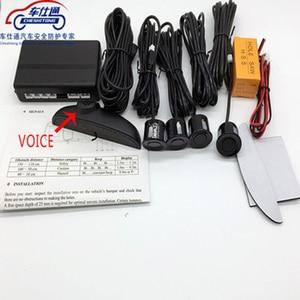 Image 2 - Voz humana com engilsh sensor de estacionamento do carro para todos os carros reverso assistência radar backup sistema monitor com 4 sensor