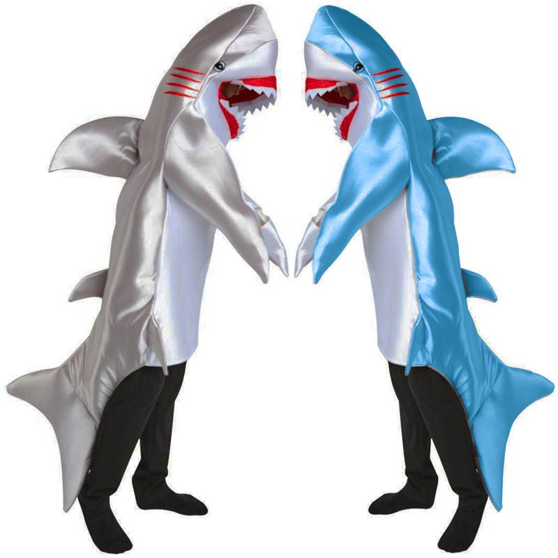Deluxe Adult Men Blue and Gray Shark Halloween Comfortable Cosplay Costume Animal Theme
