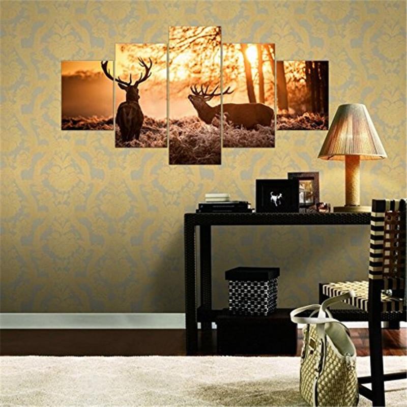 Nature Elk Landscape 5 Panels Wall Art Canvas Paintings Wall ...