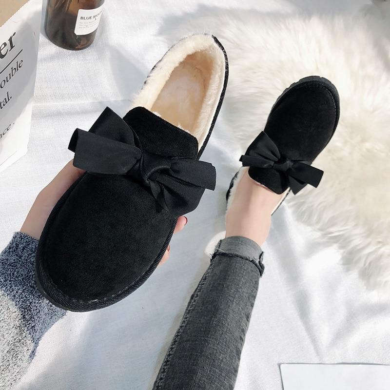 2018 Frauen Winter Stiefel Flut Wilde Bowknot Weibliche Baumwolle Schuhe Dicke Warme Frauen Schnee Stiefel Ab112