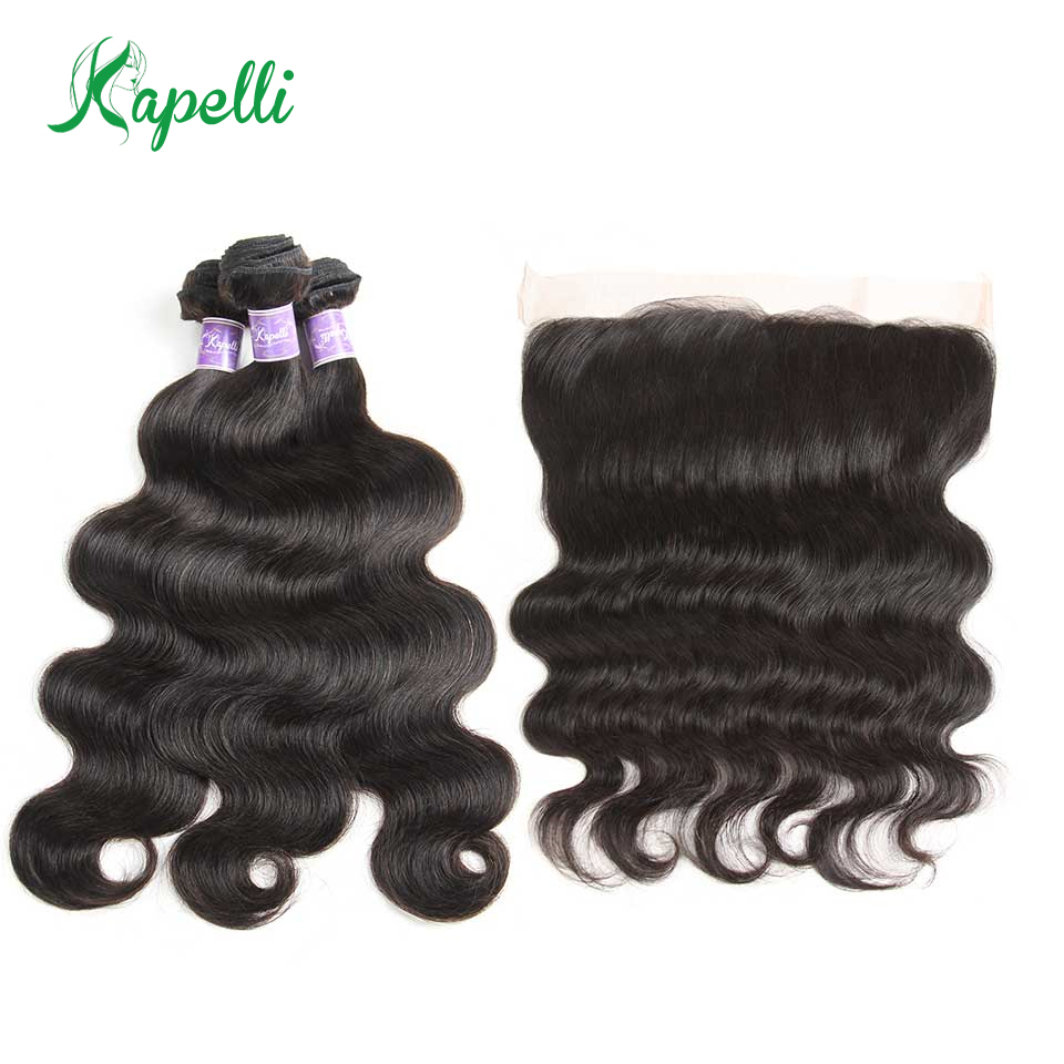 Kapelli Body Wave Human Hair Bundles With Closure 1B Brazilian Hair Weave 3 Bundles With Closure 13x4 Middle Part Non Remy Deals