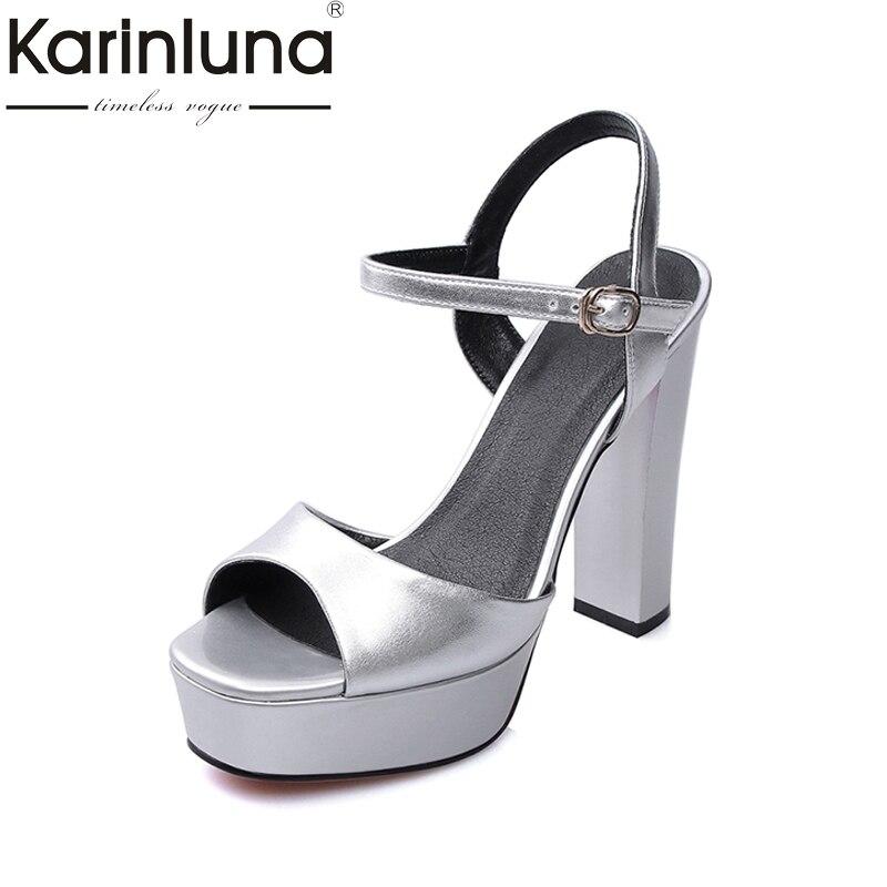 KARINLUNA 2017 Square High Heel Thick Platform Summer Shoes Woman Ankle Strap Open Toe Cutout Buckle Sandals neil h neil h secret of faeries