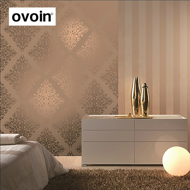 Modern Luxury Gold Metallic Wallpaper Vinyl Textured Damask Purple Wall Paper Roll Coverings For Bedroom