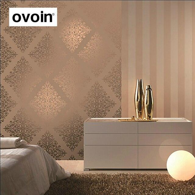Papel pintado metálico dorado moderno de lujo de vinilo con textura Damasco púrpura rollo de papel de pared revestimientos para dormitorio sala de estar 10 m