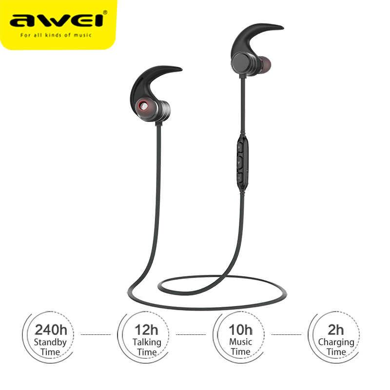 AWEI AK5 podwójna moc bezprzewodowe słuchawki Bluetooth magnetyczny zestaw słuchawkowy hi-fi Sport słuchawki wodoodporne CVC słuchawki douszne do telefonów