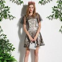 Высокое Качество Платья 2017 С Коротким Рукавом Европейский Полые Цветочный Вышивка Красивая Летние Дамы Элегантный Dress Мода Новый