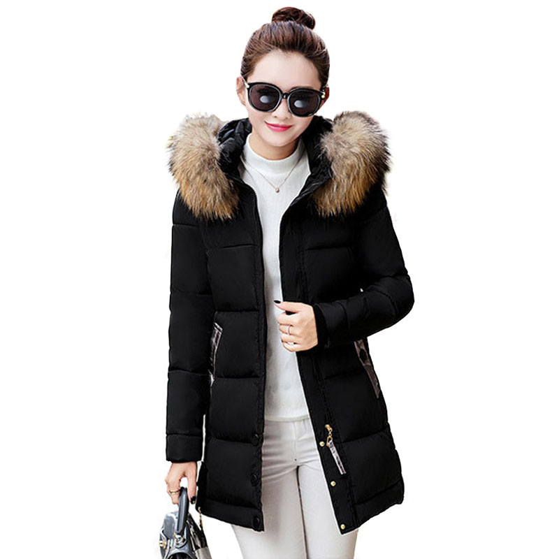 3XL Plus Size Women Coat Fur Collar Parka Winter Thick Warm Hooded Long Sleeve Women's Down Cotton Wadded Coat Quilted Jackets 2017 women winter coat fur collar hooded long sleeve jackets slim thick winter jacket woman s down cotton parka plus size qh0242
