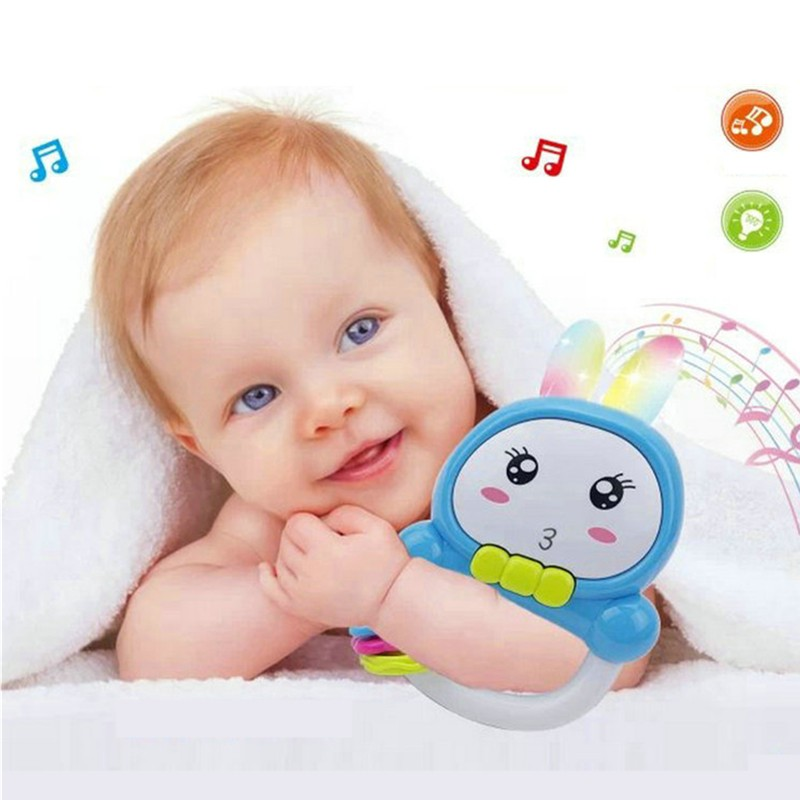 1Pcs Cute Baby Cartoon Rabbit Rattles With Luminous Ear Non-toxic Early Learning Kids Music Toys Color Random HOT SALE