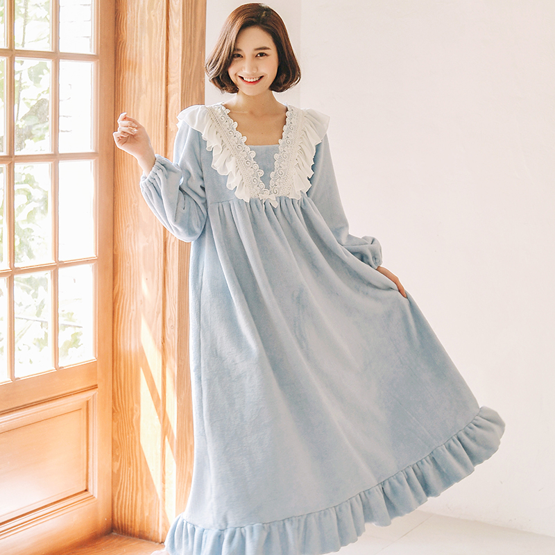 Thicken Flannel Female Nightgowns For Women Winter Warm Sweet Princess White Lace Sleepwear Feminino Nightwear Xmas Gift