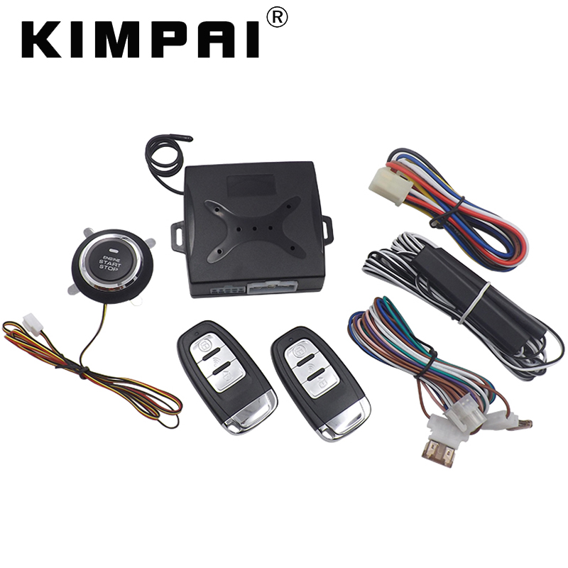 KIMPAI Remote Keyless Push Start Stop Button Auto Window Up Output Start Stop Car Engine Alarm Remote Unlock System For Audi universal smart rfid car alarm system push engine start stop button transponder immobilizer keyless go fits for dc 12v car