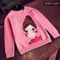 2016 Autumn sweatshirts fashion women long sleeve  kawaii girls print tops casual o-neck pink pullover hoodies polerones Mujer