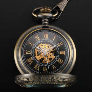 Image 3 - Steampunk Pocket Watch Mechanical Pocket Watches Flip Clock Necklace Retro Skeleton Vintage Pocket Fob Watch Chain Dropshipping