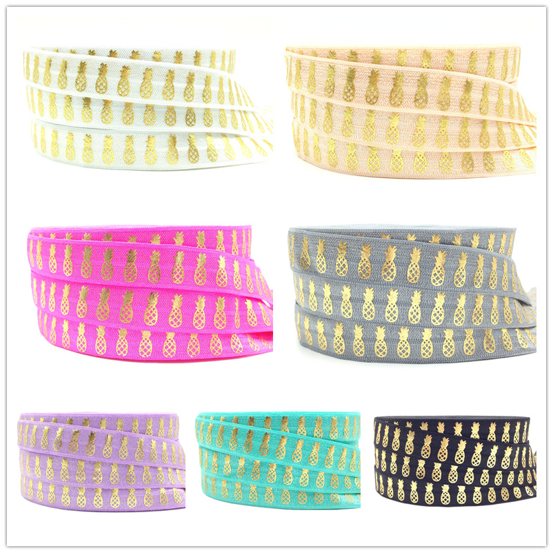 10 yards/lot Good Quality Pineapple Print Fold Over Elastic 5/8 Gold Foil FOE Elastic Ribbon for Hair Tie Hair Accessories