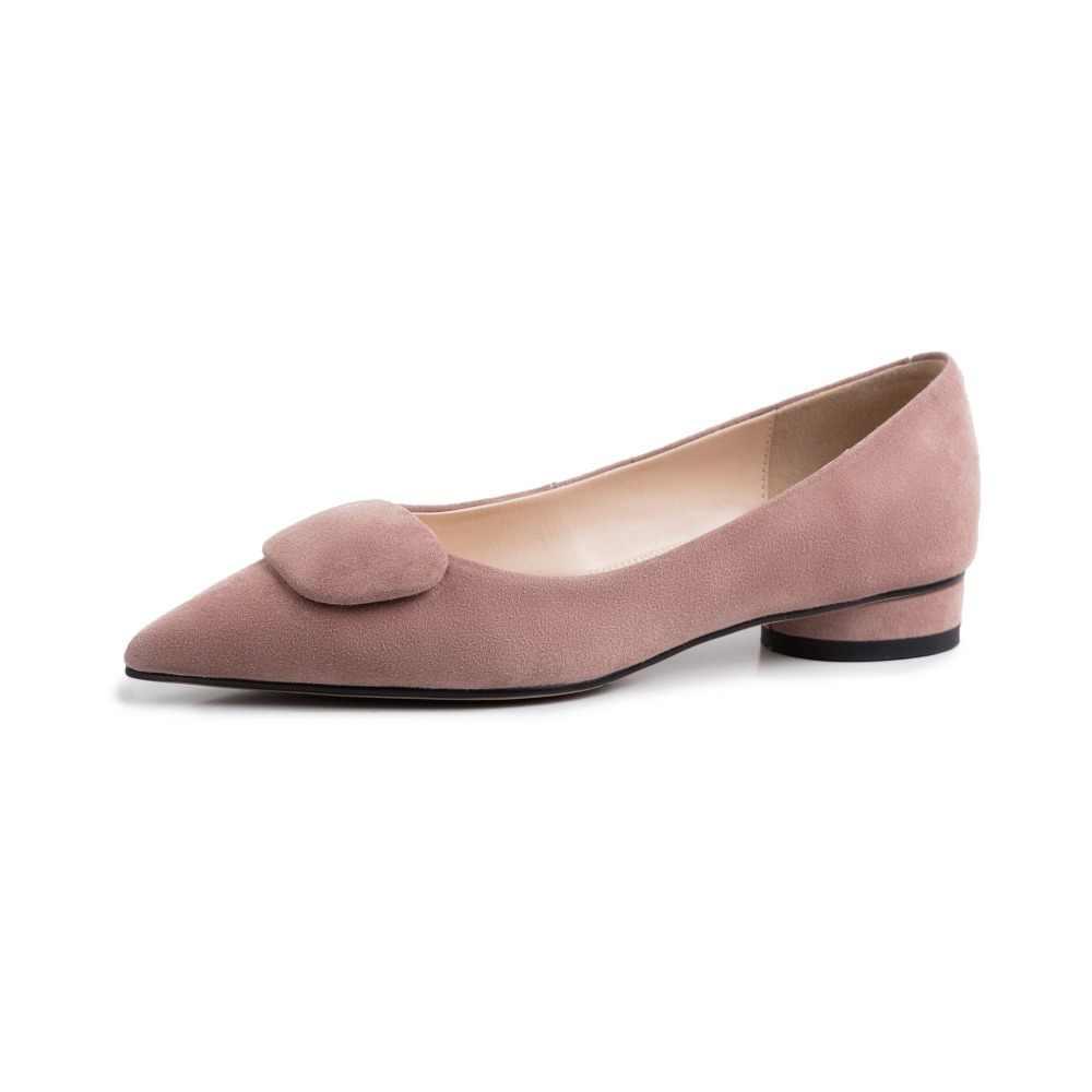 Superstar çocuk süet marka yuvarlak topuklu sığ sivri burun kadın pompaları özlü elbise katı sürüş ofis bayan bahar ayakkabı L25