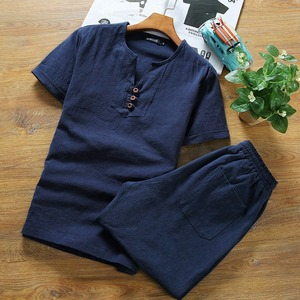 Image 3 - בתוספת גודל גדול 9XL 10XL קיץ גברים פשתן קצר שרוול חולצות ומכנסיים קצרים כותנה 8XL יפן סגנון V צוואר tees 52 54 62 64 66 68 70