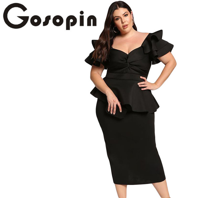 US $28.01 43% OFF|Gosopin Plus Size Dresses Tiered Sleeve Short Sleeve  Elegant Party Twisted Peplum Dress Modern Lady Women Club Dresses  LC610552-in ...