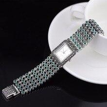 Hot Sale Women Classic Thai Silver Bracelet Watch S925 Silver Bracelet Watch Silver Jade Bracelet Watches