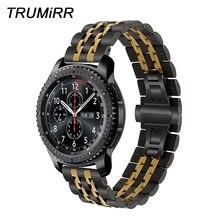 Correa de reloj de acero inoxidable Premium de 22mm para Samsung Gear S3 Classic Frontier Gear 2 Neo Live, pulsera de liberación rápida