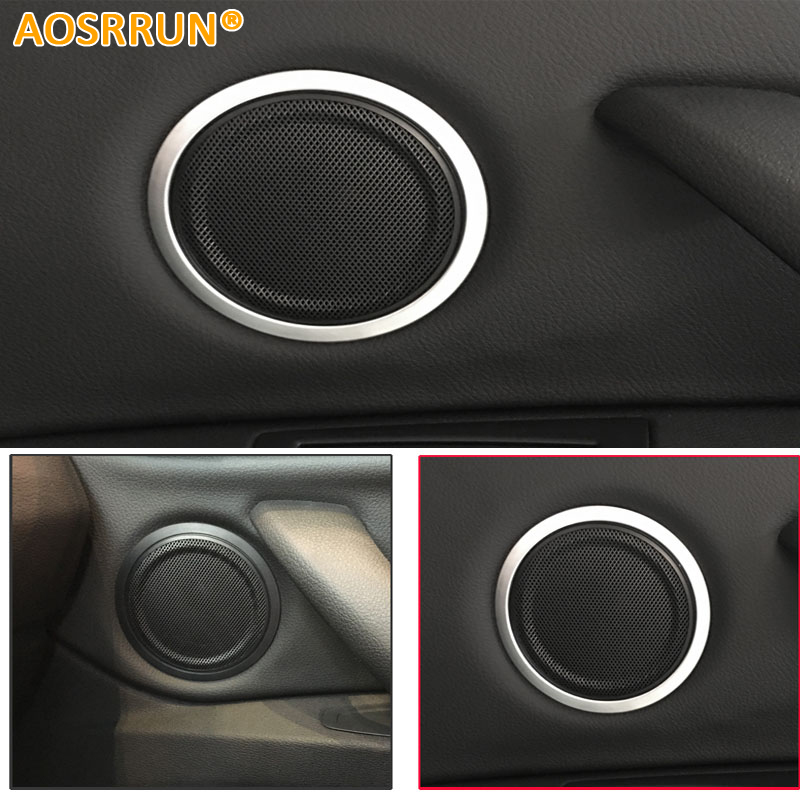 AOSRRUN Stainless steel The doors sound speaker decoration Car accessories For BMW X1 F48 2015 2016 20i 25i 25le aosrrun after the stainless steel backboard of the guard board the rear guard plate car accessories for acura cdx 2016 2017