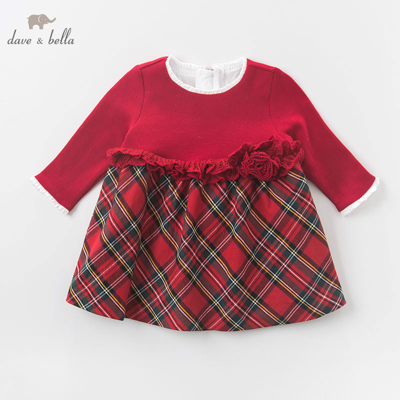 Image 2 - DB6078 dave bella autumn baby Princess girl Wedding Birthday dress Children plaid Clothes Infant Designs GIRL'S Vestido-in Dresses from Mother & Kids