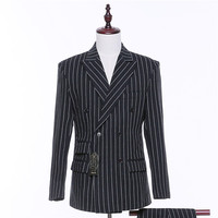 New Black And White Striped Fabric Men S Wedding Suit Jackets Slim Tuxedo Formal Costumes Business