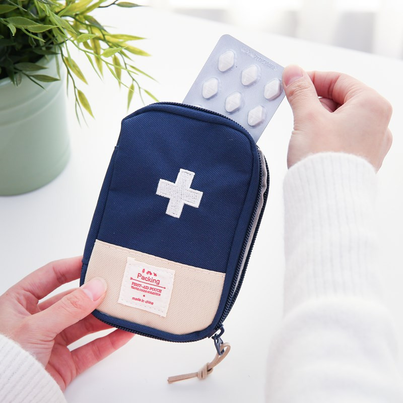1pc First Aid Kit Bag Portable Travel Medicine Package Emergency Kit Bags Small Medicine Divider Storage Organizer