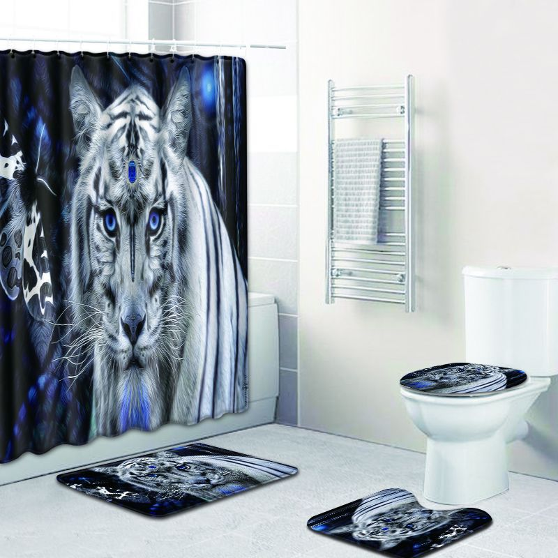 Tiger 4pcs Bathroom Shower Curtain And Rug Sets King Of