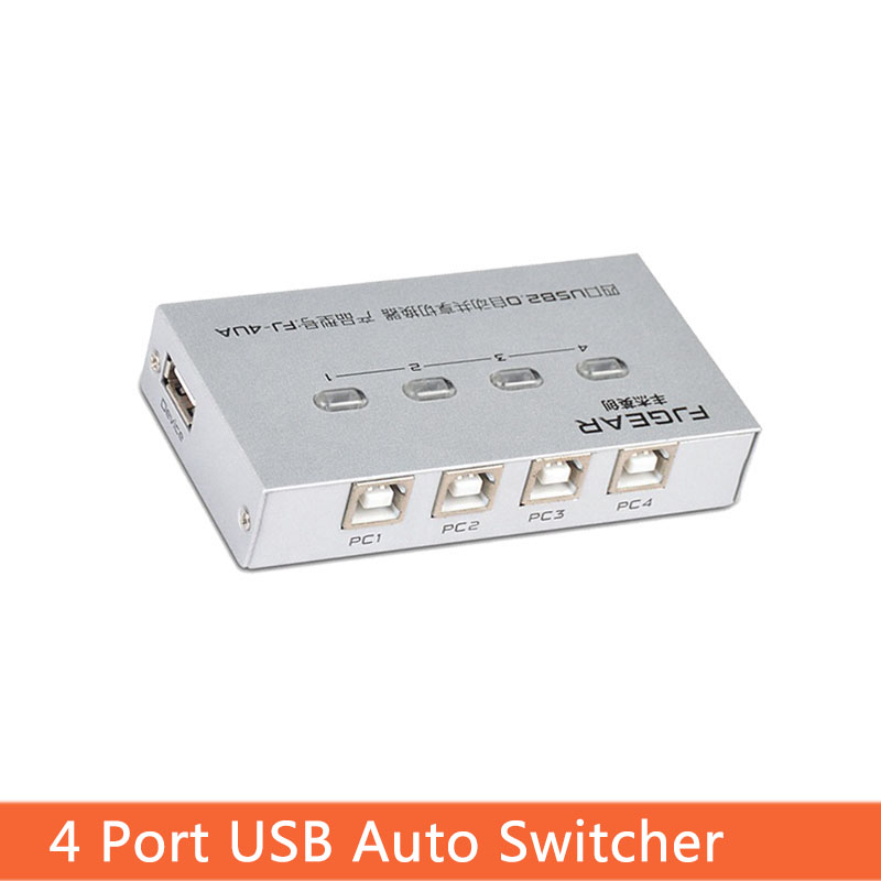 4 Port USB Switcher Selector Auto Sharer Four In And One Out Multiple Computers Share One USB Printer Device FJ-4UA