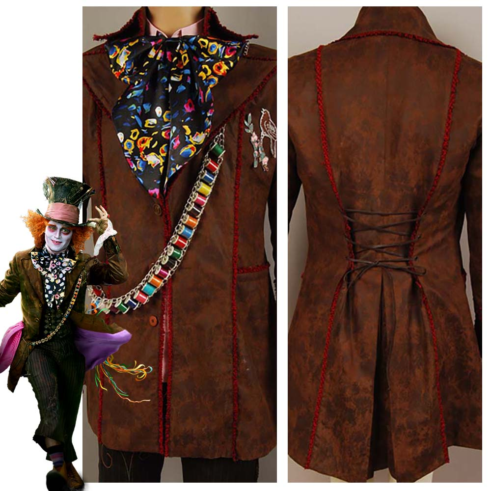 Alice In Wonderland Johnny Depp Mad Hatter Jacket Pants Tie 6 pcs Movie Halloween Cosplay Costume Free Shipping