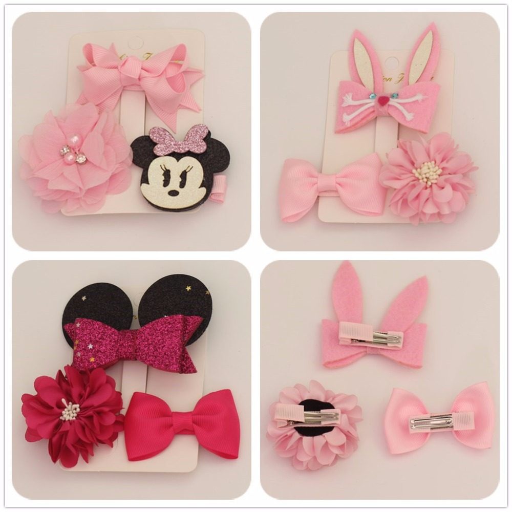 1 set fashion girls kids hair clips bow hairpin bobby pins accessories for children hairgrip hair barrette headdress hairclip children fashion bobby pins hairpin headwear set 6pcs set girls cartoon hello kitty fox owl cat animal bb clips hair accessories