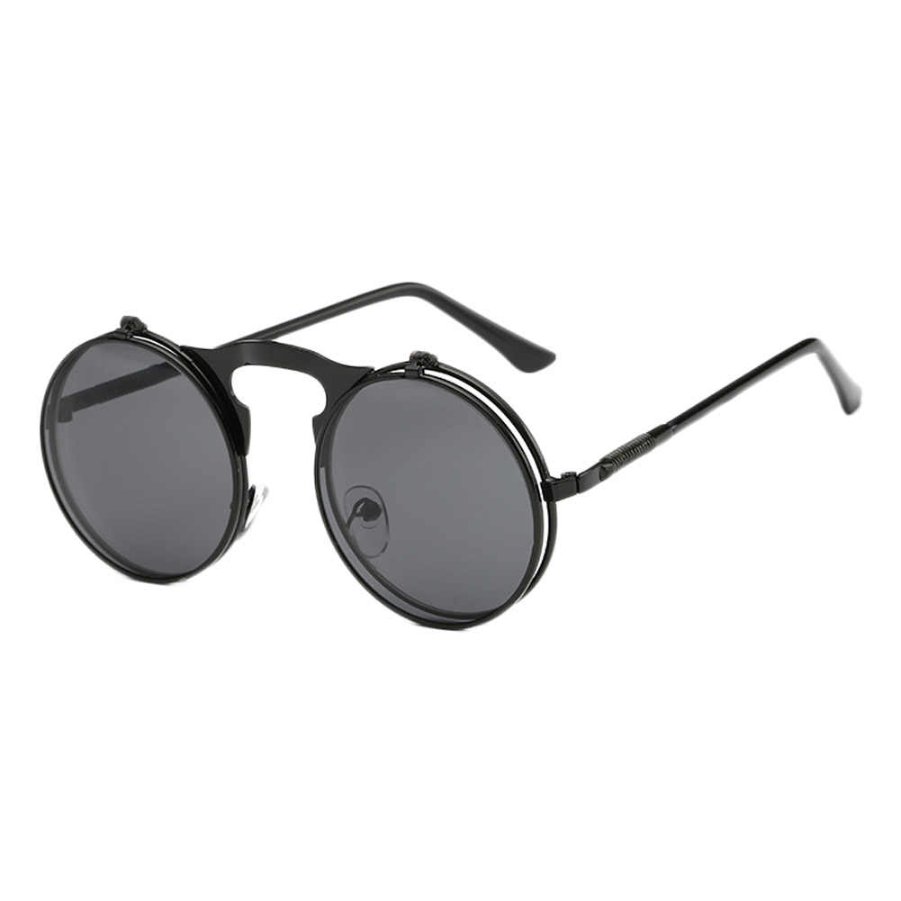 5a5eda4422f New Arrival fashion 2019 Summer Men Women Vintage Round Metal Frame Flip Up Sunglasses  Glasses Eyewear