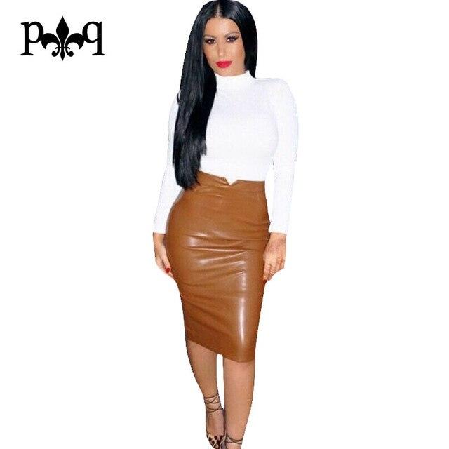 Women Pu Leather Skirt Autumn Streetwear Casual Office Work Wear Bodycon Pencil  Skirt High Waist Long Velvet Skirts Women Jupe 255336f93bfb