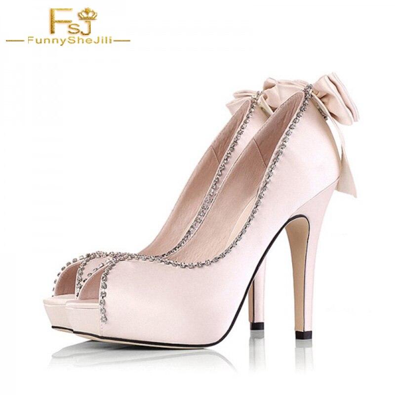 43 Mariée Plate Femmes Taille Strass Chaussures 42 Champagne Grande Toe Peep Fsj Dames De Automne Pompes Fsj01 Printemps forme 2018 41 zgppfHx
