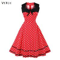 Summer Dress Rockabilly Sukienka Sleeveless Polka Dot Print Bow Swing Party Dress Frocks Pin Up Vintage Dress 50s Women Dress