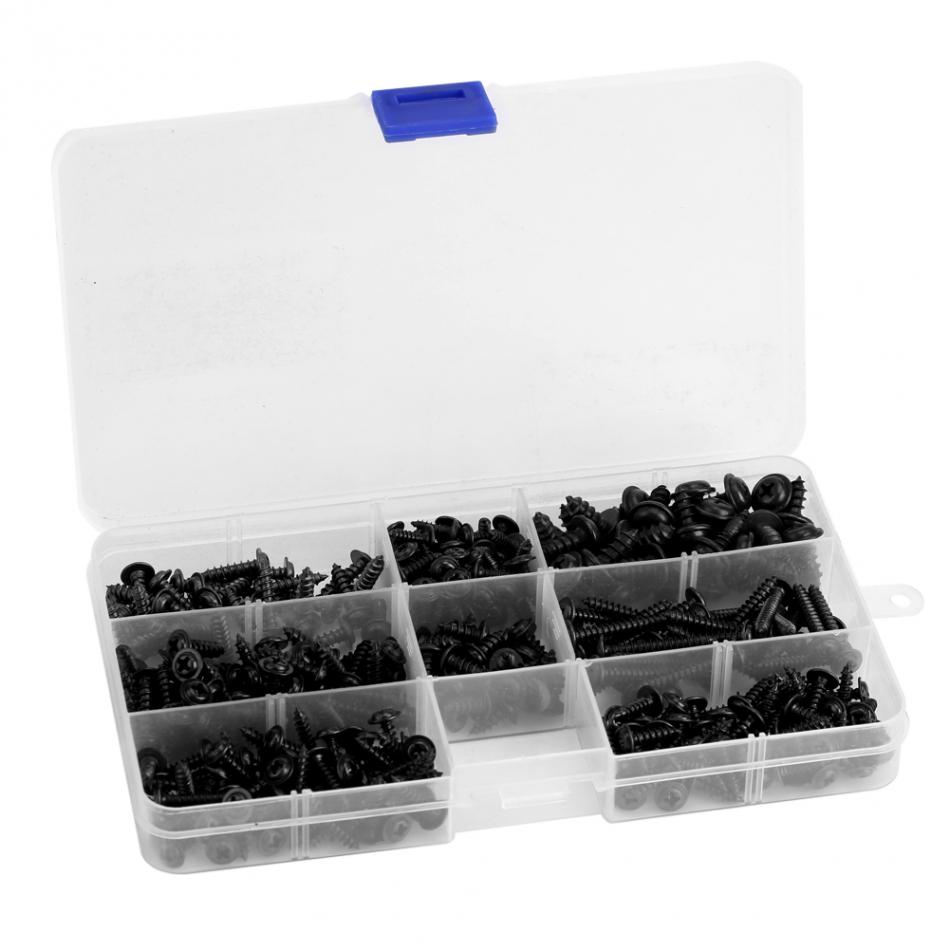 340pcs/set Carbon Steel Self Tapping Cross Screws Flat Head Screw Bolts Assortment Kit Fastener Hardware With Box 340pcs truss stainless steel phillips screws set for woodworking round head cross m3 m4 pwa self tapping screw fastener kit