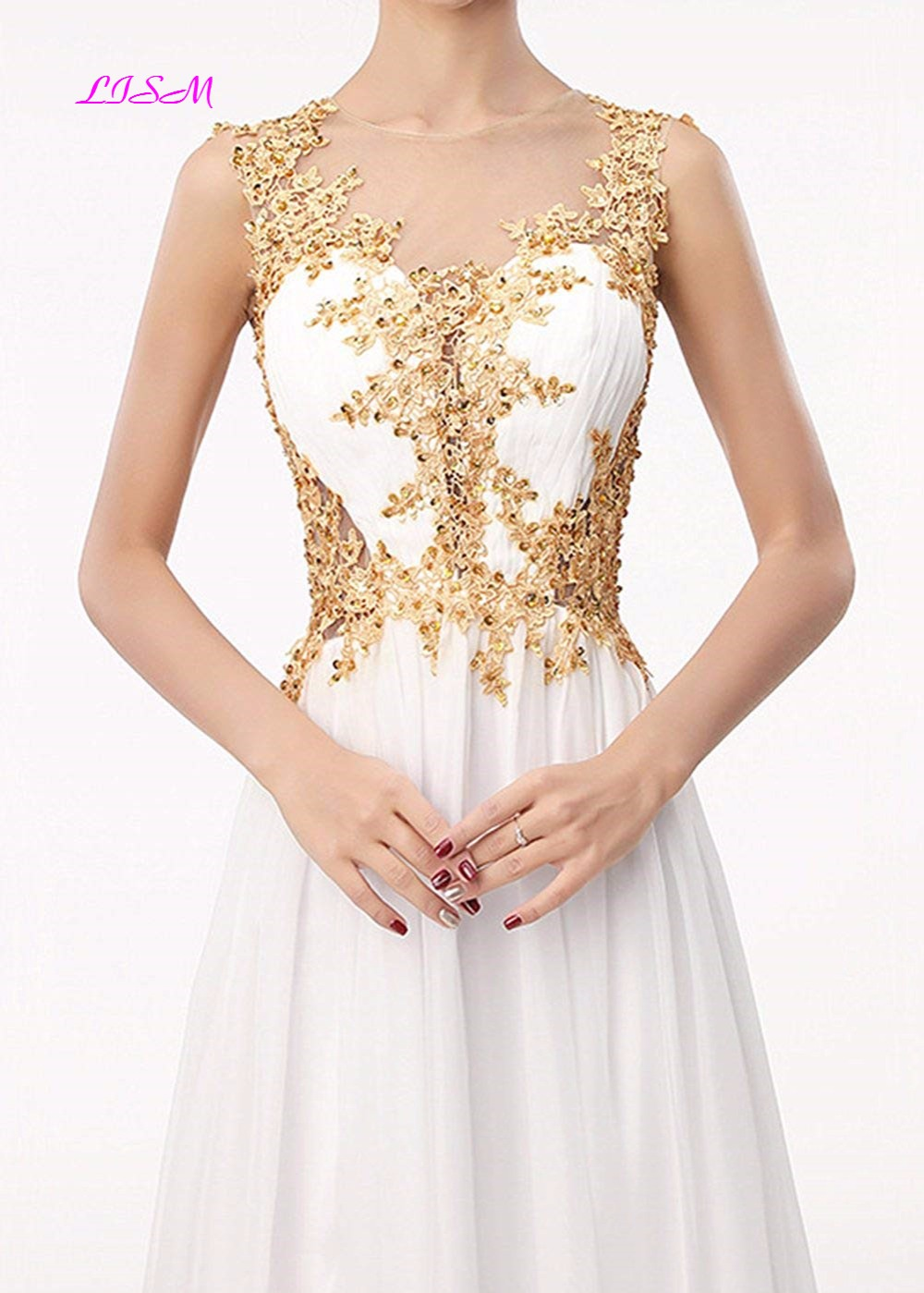 White A-Line Chiffon Evening Dresses Illusion O-Neck Gold Appliques Long Prom Party Gowns Elegant Sheer Back Formal Dress