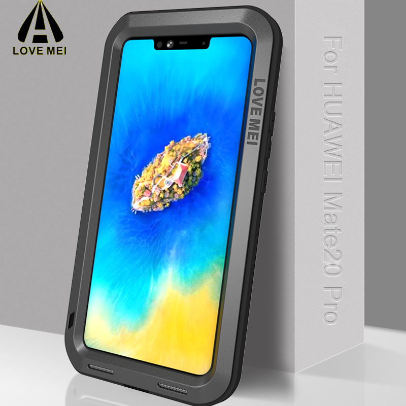 LOVE MEI Case For Huawei Mate 20 pro Luxury Aluminum Metal Armor Case Life WaterProof Shockproof Huawey Mate20 por Rugged Cover