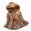 Fake Fur Coat Leopard Clothing For Girls Manteau Fille European And American Style Children's Winter Jacket Soft Hooded