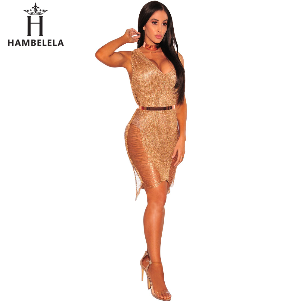 bc43958fb8a55 Hambelela Best Selling 2017 Products China Clothing Ladies Party Dress  Summer V Neck Gold Bodycon Sheath Metallic Knitted Dress