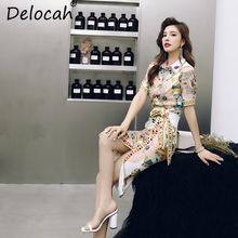 Delocah Women Summer Casual Suits Runway Fashion Character Printed Beading Tops and Elegant Bow Tie Side slit Skirt 2 Pieces Set цены онлайн