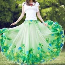 цены на 2019 New Spring and summer Plus Size 5XL Chiffon print flower Bohemia Big Hem Female Long Maxi Skirt / faldas largas elegantes  в интернет-магазинах
