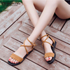Brand Shoes Woman Flock Gladiator Sandals Women Summer Lace Up Sandals Thick Heels Fringe Summer Beach