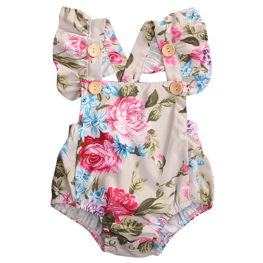 Summer Floral Newborn Baby Girl Clothes Floral Romper Ruffles Sleeve Toddler Kids Jumpsuit Outfits Sunsuit Halter