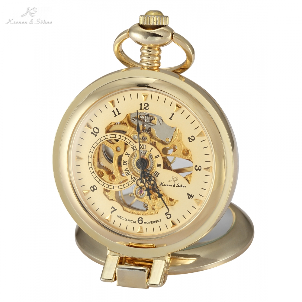 KS Luxury Skeleton Golden Hand Winding Clock Long Chain