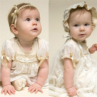 Baby Girl Christening Gowns With Headband White Fashion Baby Birthday Dress Girls Baptism Dresses with Bonnet