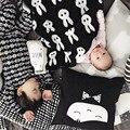 Cobertor do bebê Preto e Branco Coelho Bonito Cisne Cruz Malha Xadrez para Cama Sofá Cobertores Mantas Colcha Toalhas de Banho Esteira do Jogo presente