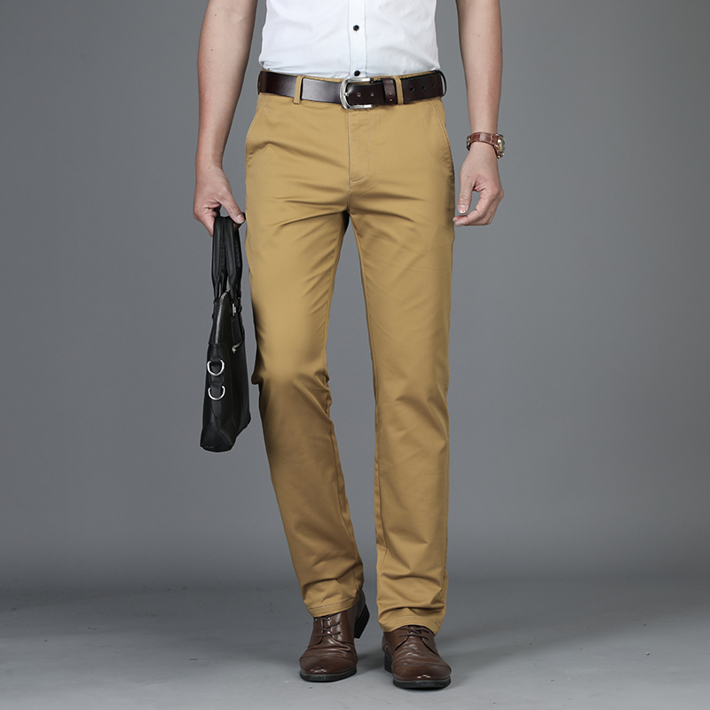 2018 Mens Casual Europäischen Amerikanischen Luxus Hosen Stretch Männliche Hosen Manstraight Schwarz Blau Khaki Plus Größe 42 44 Anzug Hosen